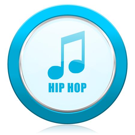 힙합 블루 크롬 은색 금속 테두리 웹 아이콘. 인터넷 및 휴대 전화 응용 프로그램 디자이너를위한 둥근 버튼.