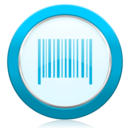 Barcode blue chrome silver metallic border web icon. Round button for internet and mobile phone application designers.