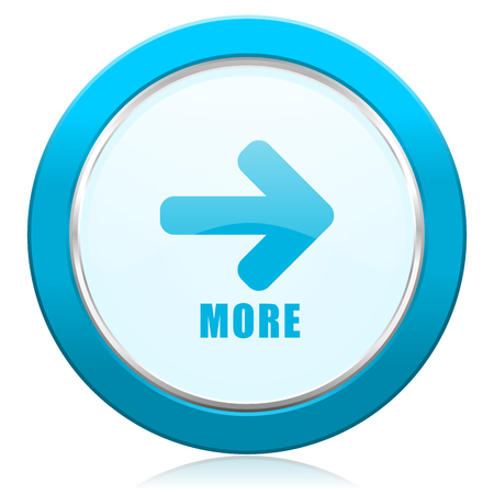 More blue chrome silver metallic border web icon. Round button for internet and mobile phone application designers.