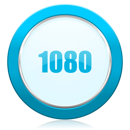 1080 blue chrome silver metallic border web icon. Round button for internet and mobile phone application designers. Stock Photo