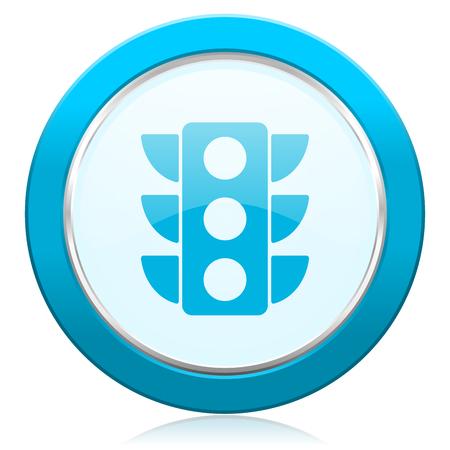 Semáforo icono de web de borde metálico plata cromo azul. Botón redondo para diseñadores de aplicaciones de internet y teléfonos móviles.