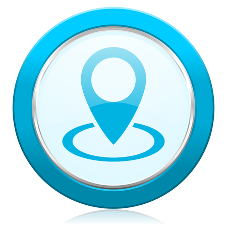 Pointer blue chrome silver metallic border web icon. Round button for internet and mobile phone application designers.