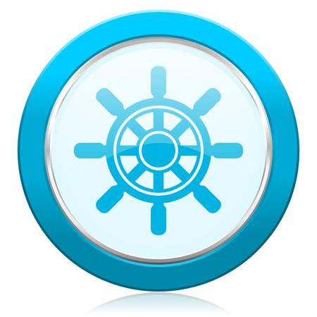 Ship wheel blue chrome silver metallic border web icon. Round button for internet and mobile phone application designers. Stock Photo