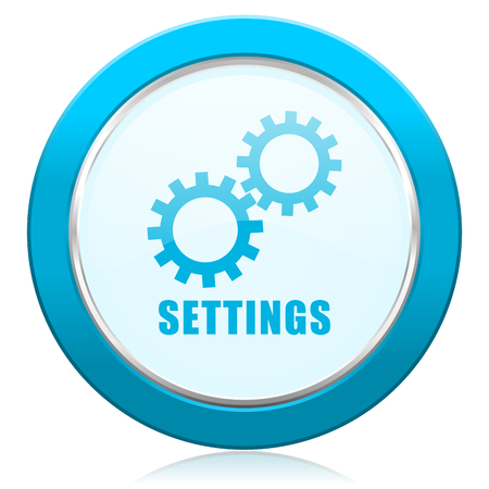 Settings blue chrome silver metallic border web icon. Round button for internet and mobile phone application designers.