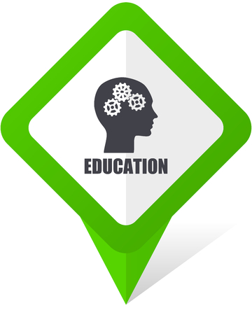 Education green square pointer web and mobile phone vector icon in eps 10 on white background with shadow Illustration
