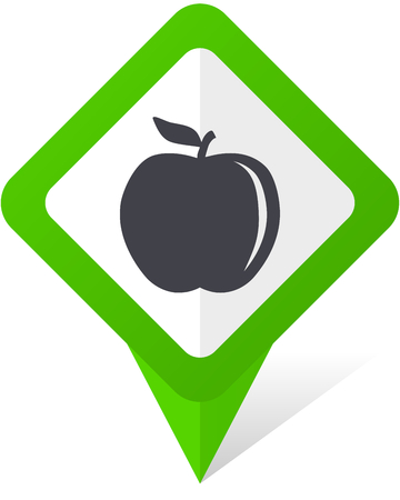 アップル グリーン正方形ポインター web および eps 10 影と白い背景の上で携帯電話のベクトル アイコン