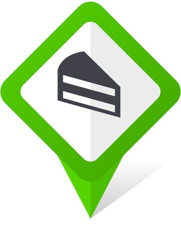 ケーキ緑の正方形ポインター web および eps 10 影と白い背景の上で携帯電話のベクトル アイコン