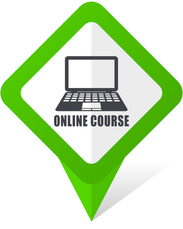 Online course green square pointer web and mobile phone vector icon in eps 10 on white background with shadow