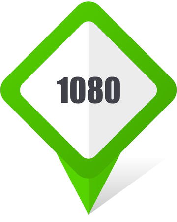 1080 green square pointer web and mobile phone vector icon in eps 10 on white background with shadow