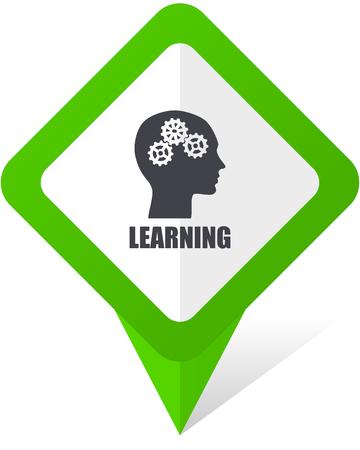apprentissage icône de pointeur carré vert et téléphone mobile vecteur de jeu dans eps 10 sur fond blanc avec ombre