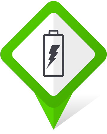 Battery green square pointer web and mobile phone vector icon  on white background with shadow Illustration