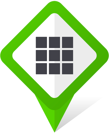 Thumbnails grid green square pointer web and mobile phone vector icon  on white background with shadow
