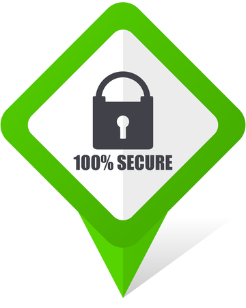 Secure green square pointer web and mobile phone vector icon on white background with shadow 일러스트