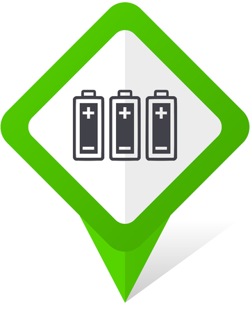 Battery green square pointer web and mobile phone vector icon in eps 10 on white background with shadow. Illustration