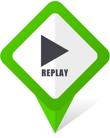 Replay green square pointer web and mobile phone vector icon in eps 10 on white background with shadow.