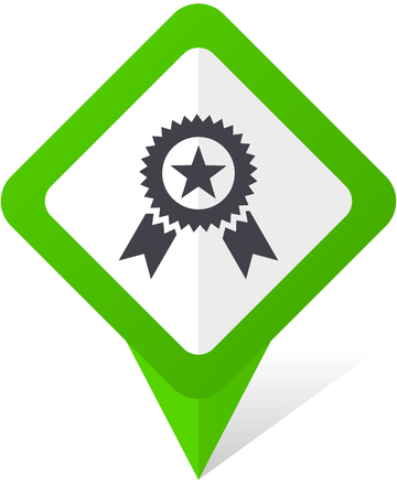 Award green square pointer web and mobile phone vector icon in eps 10 on white background with shadow. Illustration