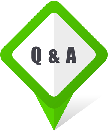Question answer green square pointer web and mobile phone vector icon on white background with shadow Иллюстрация