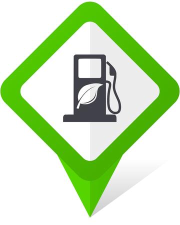바이오 연료 녹색 사각형 포인터 웹 및 그림자와 흰색 배경에 휴대 전화 벡터 아이콘 일러스트