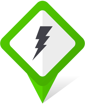 high voltage symbol: Bolt green square pointer web and mobile phone vector icon on white background with shadow