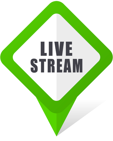 Live stream green pointer design for web and mobile phone vector icon