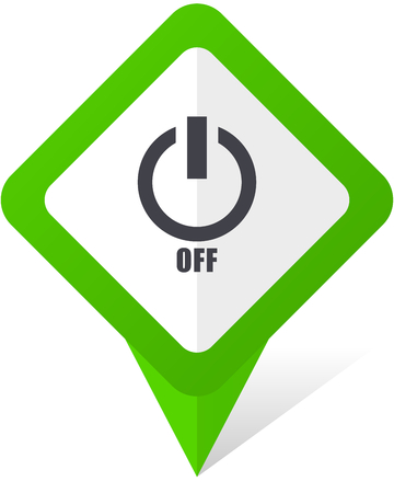 switch off: Power off green square pointer web and mobile phone vector icon in eps 10 on white background with shadow Stock Photo