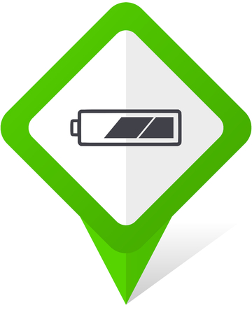 Battery green square pointer web and mobile phone vector icon in eps 10 on white background with shadow Stock Photo