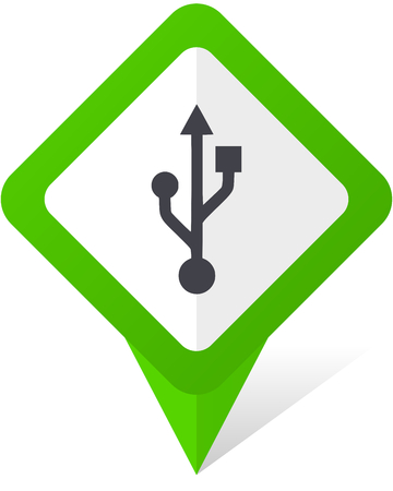 Usb green square pointer web and mobile phone vector icon in eps 10 on white background with shadow