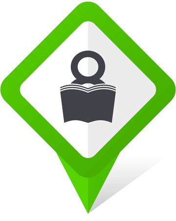 Book green square pointer web and mobile phone vector icon in eps 10 on white background with shadow