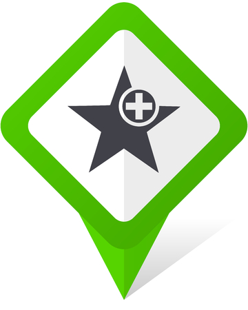 Star green square pointer web and mobile phone vector icon in eps 10 on white background with shadow