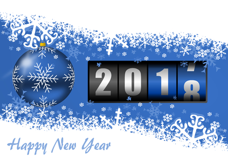 New year eve 2018 greeting card with counter and christmas ball on blue background with empty copy space for your text