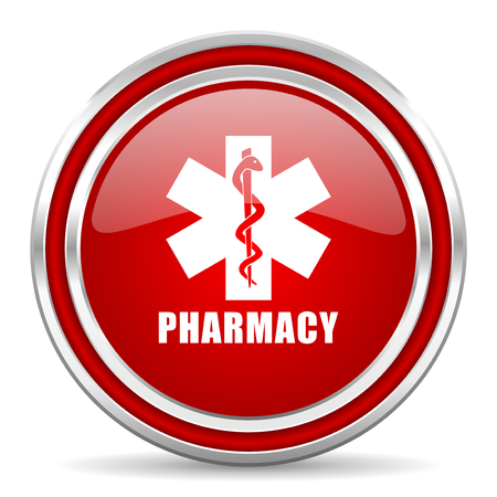Pharmacy red silver metallic chrome border web and mobile phone icon on white background with shadow