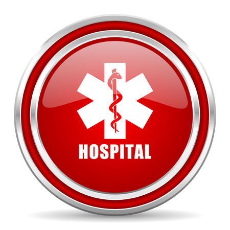 Hospital red silver metallic chrome border web and mobile phone icon on white background with shadow Stock Photo