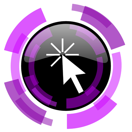 smarthone: Click here pink violet modern design vector web and smartphone icon. Round button in eps 10 isolated on white background.