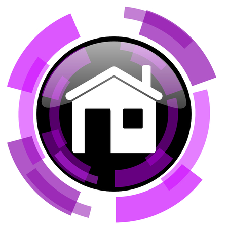 smarthone: House pink violet modern design vector web and smartphone icon. Round button in eps 10 isolated on white background. Illustration