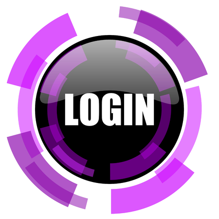 Login pink violet modern design vector web and smartphone icon. Round button in eps 10 isolated on white background.