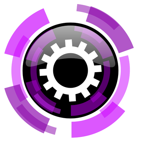 Gear pink violet modern design vector web and smartphone icon. Round button in eps 10 isolated on white background.