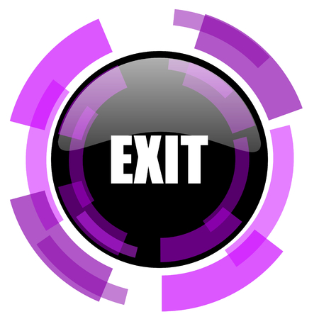 Exit pink violet modern design vector web and smartphone icon. Round button in eps 10 isolated on white background.