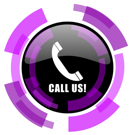 smarthone: Call us pink violet modern design vector web and smartphone icon. Round button in eps 10 isolated on white background.