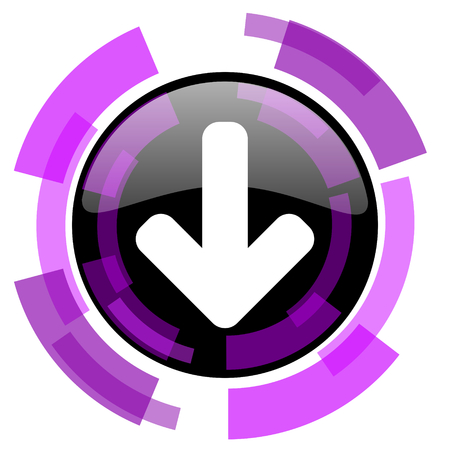 smarthone: Download arrow pink violet modern design vector web and smartphone icon. Round button in eps 10 isolated on white background.