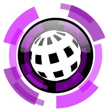 smarthone: Earth pink violet modern design vector web and smartphone icon. Round button in eps 10 isolated on white background.