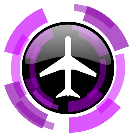 Plane pink violet modern design vector web and smartphone icon. Round button in eps 10 isolated on white background.