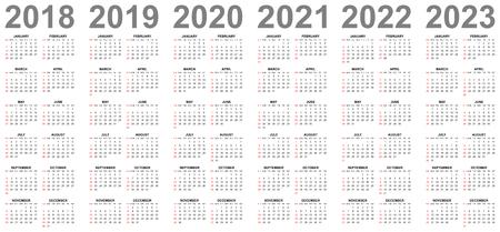 Proste edytowalne kalendarze wektorowe na rok 2018 2019 2020 2021 2022 2023 najpierw niedziele w kolorze czerwonym Ilustracje wektorowe