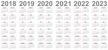 Simple editable vector calendars for year 2018 2019 2020 2021 2022 2023 sundays in red first Vettoriali