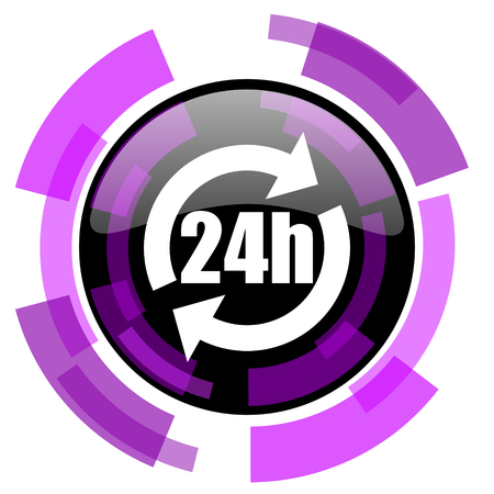 smarthone: 24h pink violet modern design vector web and smartphone icon. Round button in eps 10 isolated on white background.