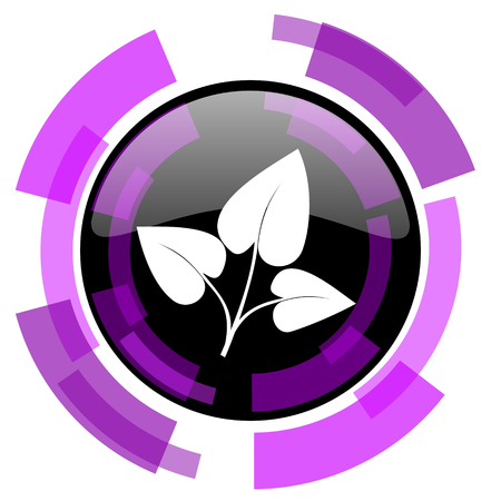 smarthone: Leaf pink violet modern design vector web and smartphone icon. Round button in eps 10 isolated on white background.