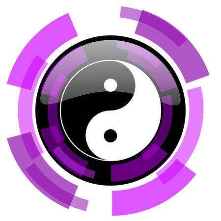 smarthone: Ying yang pink violet modern design vector web and smartphone icon. Round button in eps 10 isolated on white background.