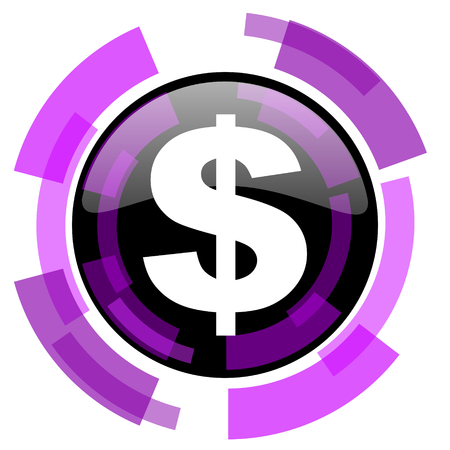Dollar pink violet modern design vector web and smartphone icon. Round button in eps 10 isolated on white background.