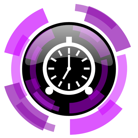 smarthone: Alarm pink violet modern design vector web and smartphone icon. Round button in eps 10 isolated on white background. Illustration