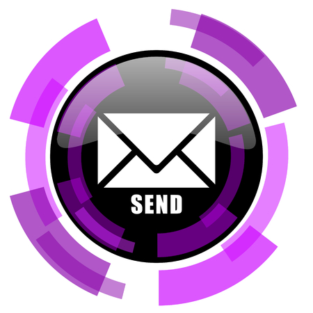 smarthone: Send pink violet modern design vector web and smartphone icon. Round button in eps 10 isolated on white background. Illustration