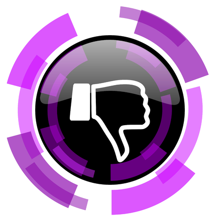 smarthone: Dislike pink violet modern design vector web and smartphone icon. Round button in eps 10 isolated on white background. Illustration